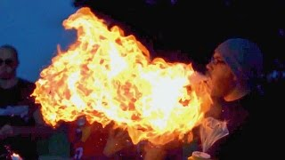 Fire Breathing in Slow Motion (Corn Starch) | Slow Mo Lab thumbnail