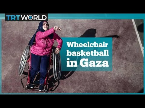 Women play wheelchair basketball in Gaza