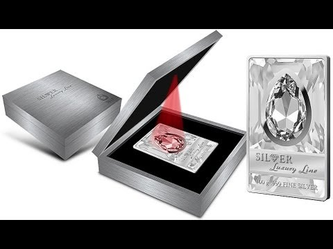 Silver Luxury Line II Coin Cook Islands 100 grams White Swarovski crystal 2013 Second Release, LED