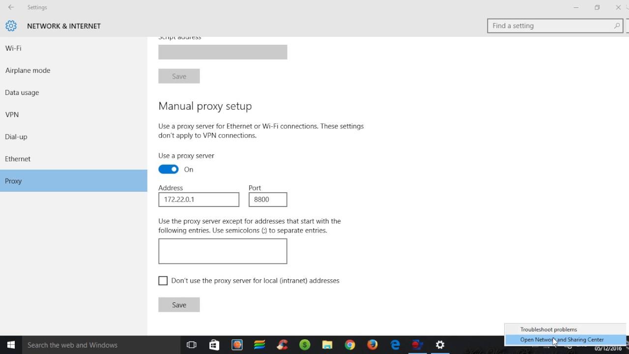 proxy server windows 10