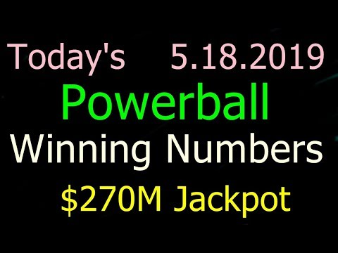Today Powerball Winning Numbers 18 May 2019. Powerball drawing tonight Saturday 5/18/2019
