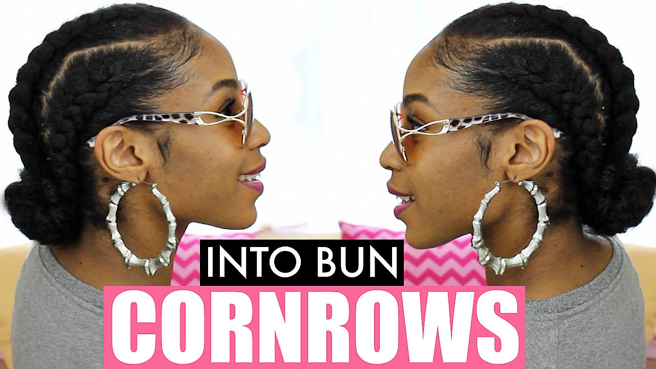 Jumbo Cornrows On Natural Hair Into A Bun