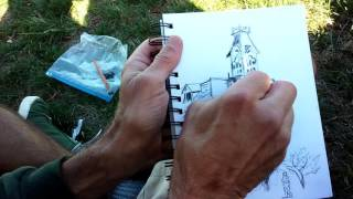 Plein Air Outdoor Charcoal Pencil Sketching