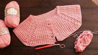 Жакет - реглан крючком часть 1 🌸 Crochet Jacket - Raglan For Girls