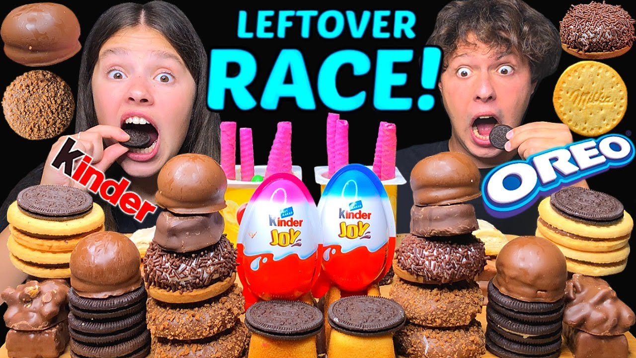 ASMR LEFTOVER CHOCOLATE DESSERT RACE EATING (KINDER, OREO, MILKA) MUKBANG 먹방 Tati ASMR