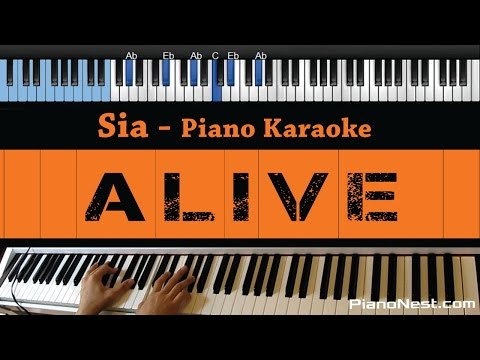 Sia - Alive - Lower Key (Piano Karaoke / Sing Along / Cover with Lyrics)