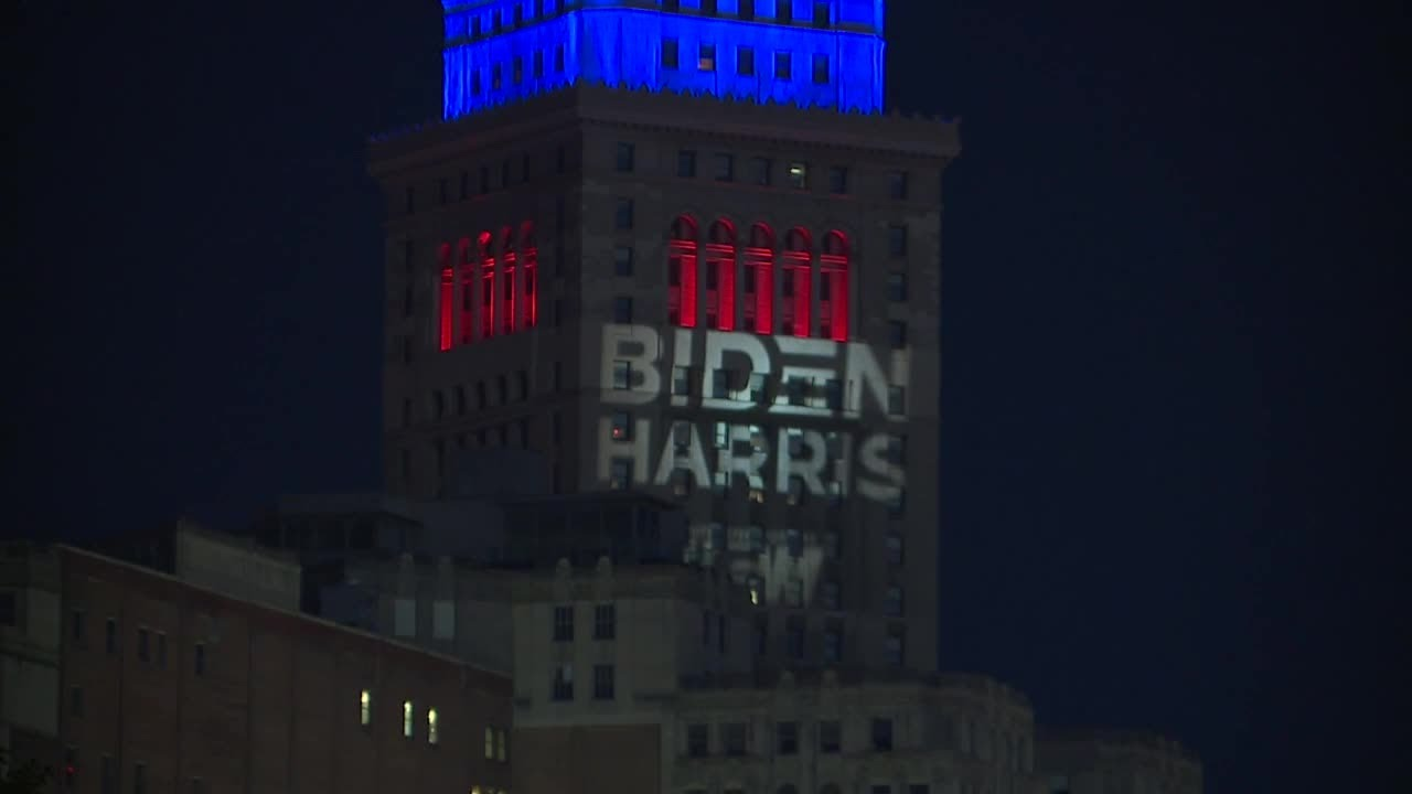 'Biden-Harris' projected onto Terminal Tower by unknown person ahead of the presidential debate