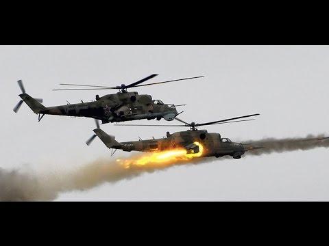 Impresionante ataque de helicópteros rusos Mi-24 contra posiciones del ISIS. Hama, Siria