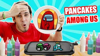PANCAKES DE AMONG US Y CON DIFICULTAD ! Pancakes Art Challenge | HaroldArtist