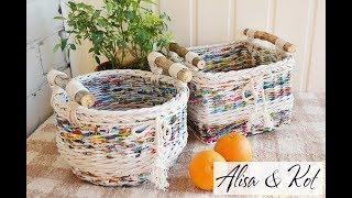 Плетение из бумажной лозы и батик Алиса & Кот