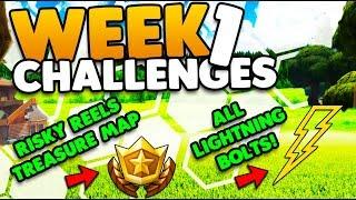 7 Lightning Bolts & Risky Reels Treasure Map Challenges | Week 1 Challenges | Fortnite Battle Royale