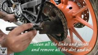 HOW TO CLEAN & LUBE YOUR KTM DUKE 200 CHAIN l  UNIVERSAL CHAIN CLEANING l  MOTUL CHAIN LUBE