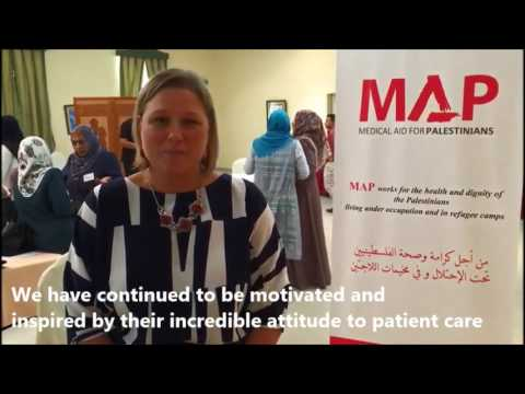 Physiotherapy training in Gaza, supported by Medical Aid for Palestinians.
