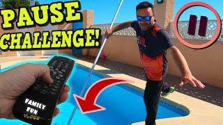 PAUSE CHALLENGE por 24 horas y se cae papa al agua! / Family Fun Vlogs
