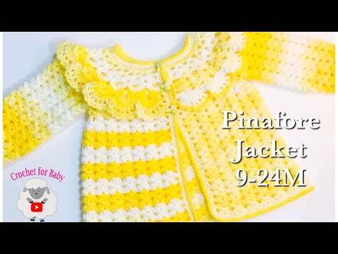 How To Crochet Easy Pinafore Baby Sweater Cardigan Jacket | Girls 12-18M By Crochet For Baby #181