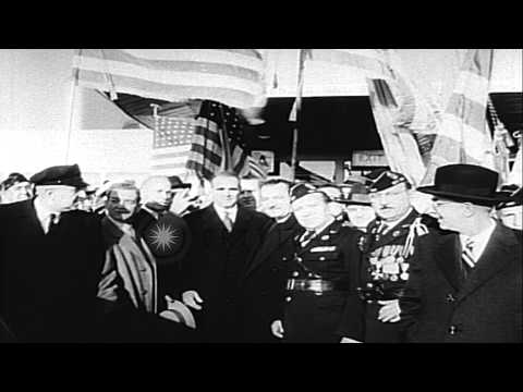 PM Constantine karamanlis is greeted by representatives of Greek-American organiz...HD Stock Footage