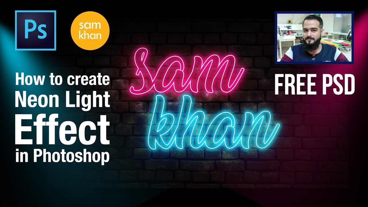 Photoshop tutorials | How to create Neon Light effect in Photoshop 2018 by samkhancreative