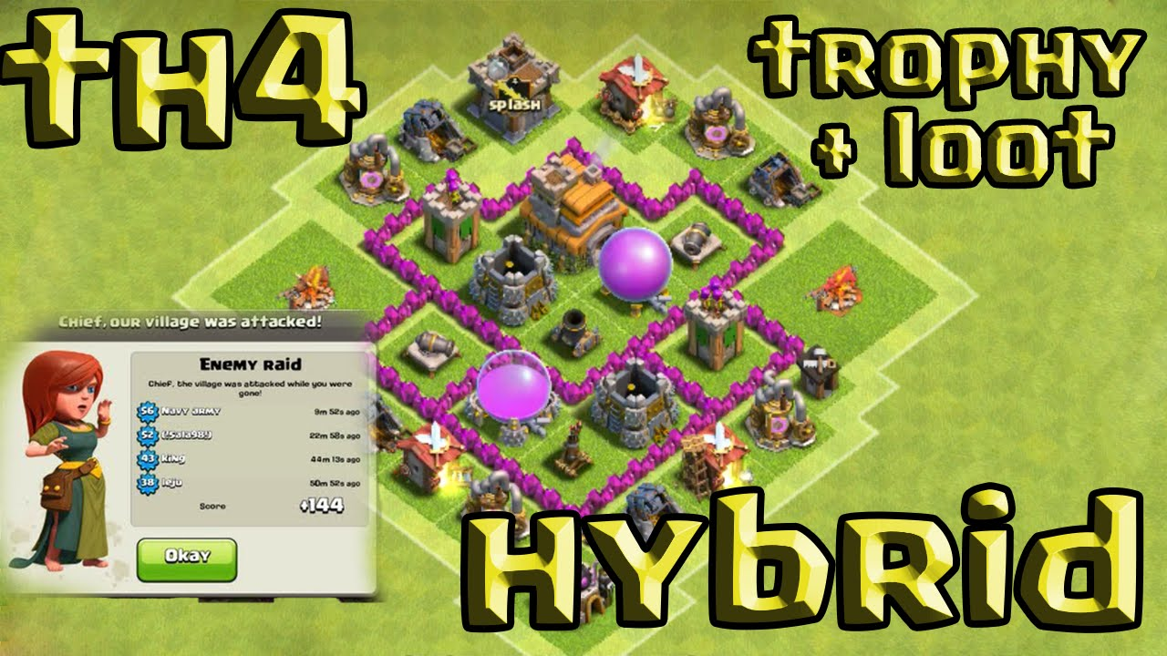 Clash of clans town hall 4 defense coc th4 best hybrid base layout