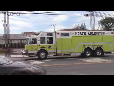 North Arlington, Nj Fire Department Rescue 5, & Engine 6 Responding On Belleville Turnpike