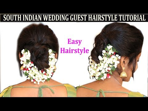 EASY METHOD OF SOUTH INDIAN WEDDING GUEST HAIRSTYLE WITH FLOWER |NO HEAT,NO HAIRSPRAY thumbnail