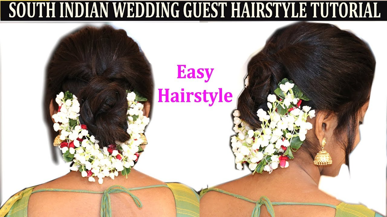 Easy method of south indian wedding guest hairstyle with flower no easy method of south indian wedding guest hairstyle with flower no heatno hairspray izmirmasajfo