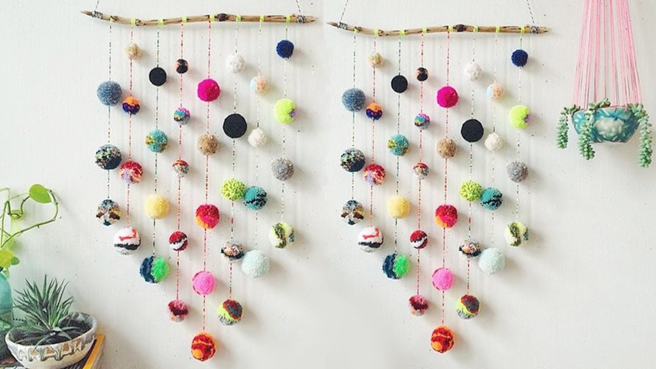 Diy wall hanging crafts ideas diy with woolen pom pom for Decoration items made at home
