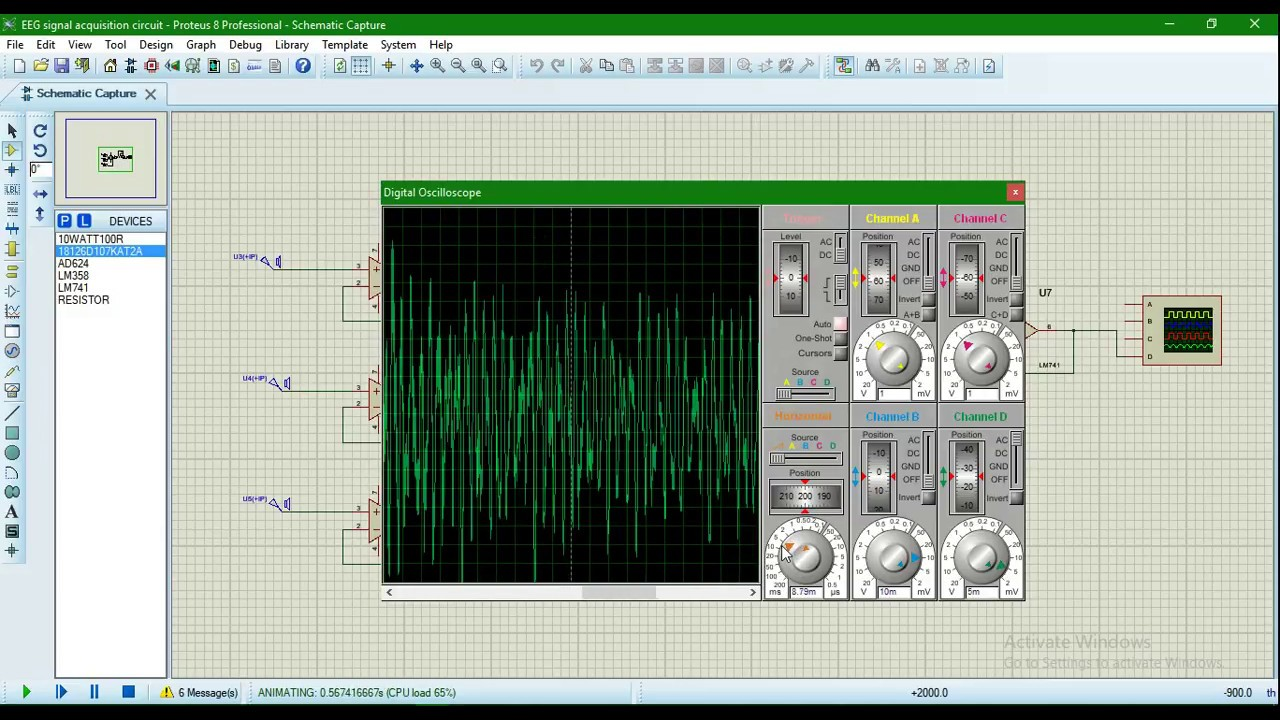 Proteus Simulation || EEG Signal Circuit || Oniket Prantor