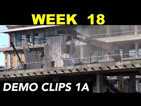"High-reach excavator carefully demolishing elevator ""penthouse"" normal speed (Week 18 set 1A)"