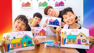 Kids Go to School Learn Colors with Playhouses! Color Song Nursery Rhymes