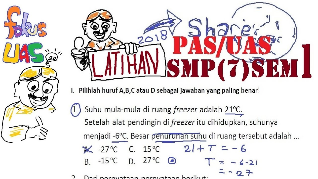 Soal Pas Uas Matematika Smp Kelas 7 Semester 1 Pembahasan Penilaian Akhir Semester 40 Soal Youtube