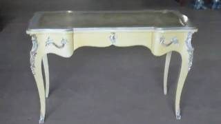 Great French Ivory Lacquer Silver Leaf Desk Writing Table