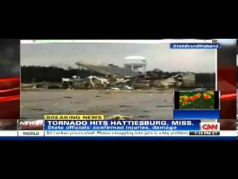 Hattisburg Mississippi tornado destroys Oak Grove High School (Raw footage)