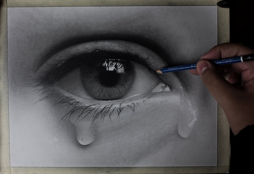 How to draw a realistic eye with tears time lapse youtube
