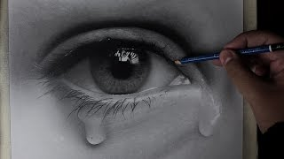 How To Draw a realistic eye with tears | time-lapse