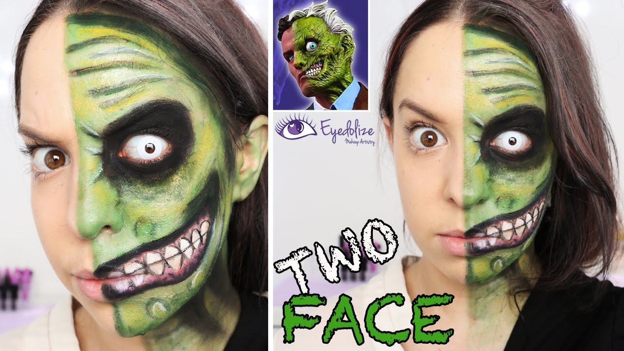Two Face (Batman) Green Makeup Tutorial by EyedolizeMakeup - YouTube