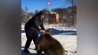 Мужчина развлекается борьбой с медведем(В Северной Осетии мужчина борется с медведем Подробнее на сайте
