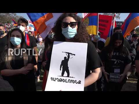 USA: Thousands march in support of Armenia in Los Angeles
