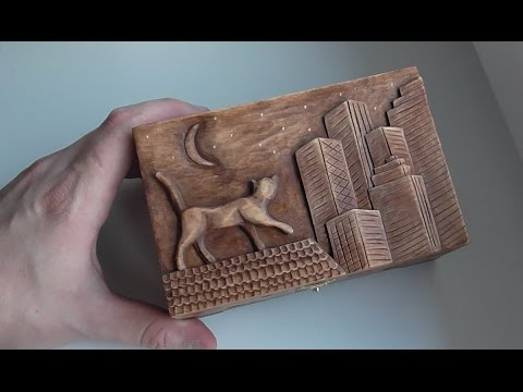Wood carving | Carved jewelry box with cat on the roof | handmade art gift | DIY