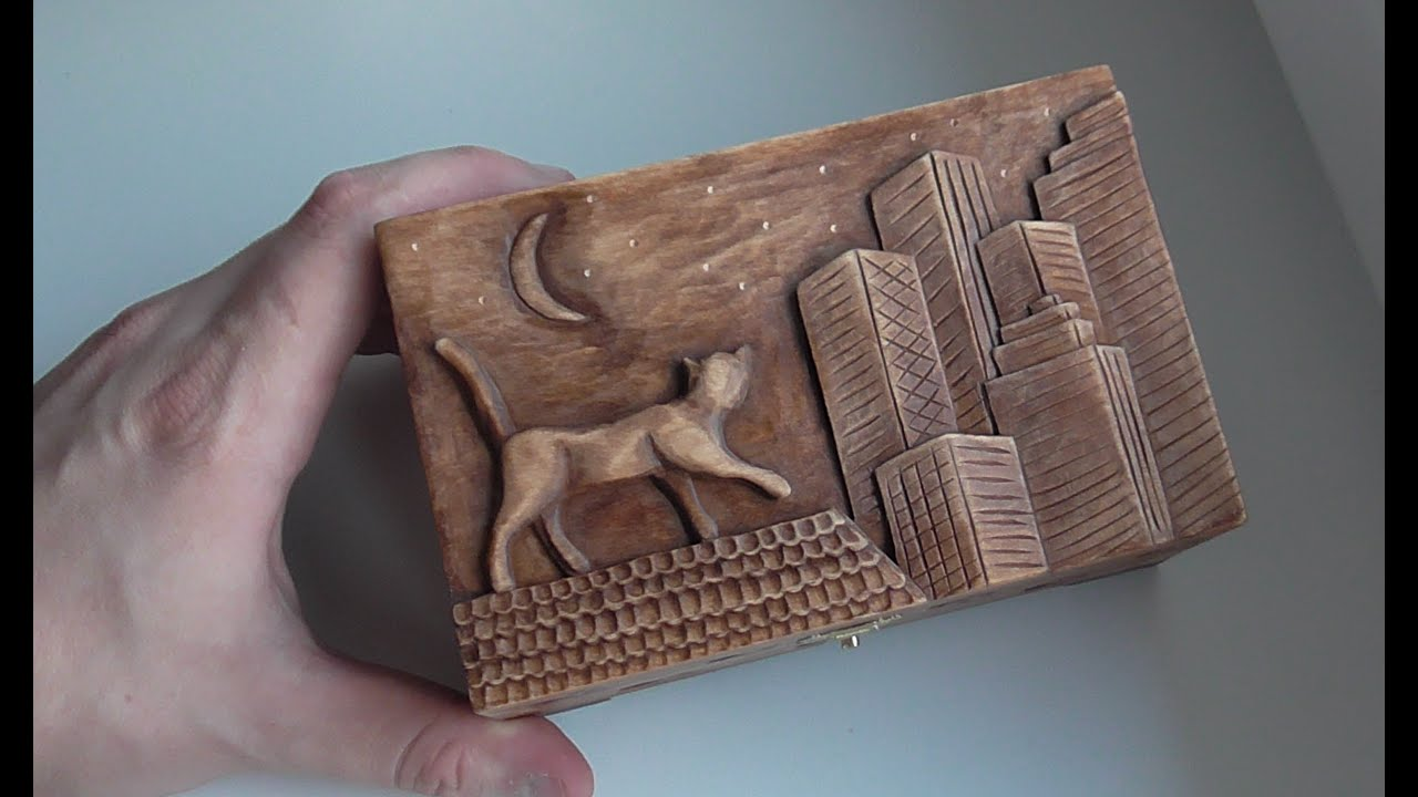 Wood carving carved jewelry box with cat on the roof handmade
