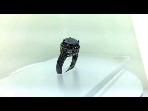 Fancy Black Diamond Engagement Ring Vintage Style 14k Black Gold JBG11172