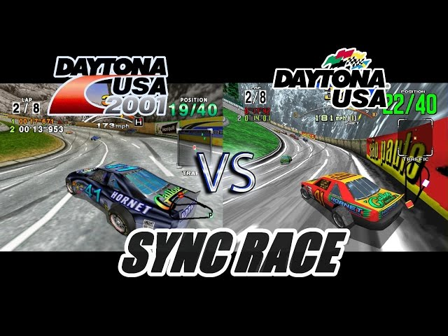 Daytona 2001 Vs Daytona USA - Sync Race (Dreamcast/Model 2 Emulator)