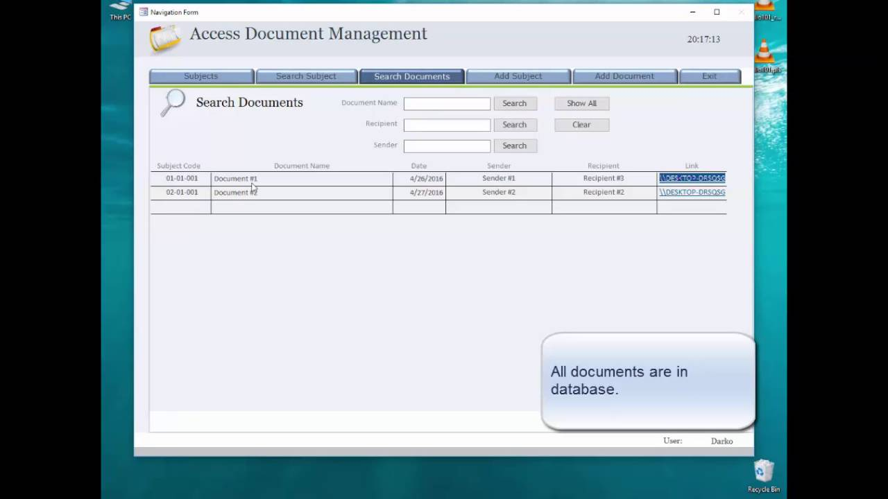 Share Access Document Management database over network - YouTube