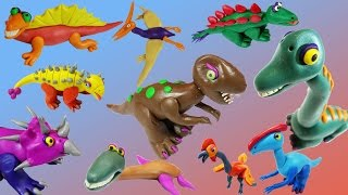 10 dinosaurs making video with playdoh