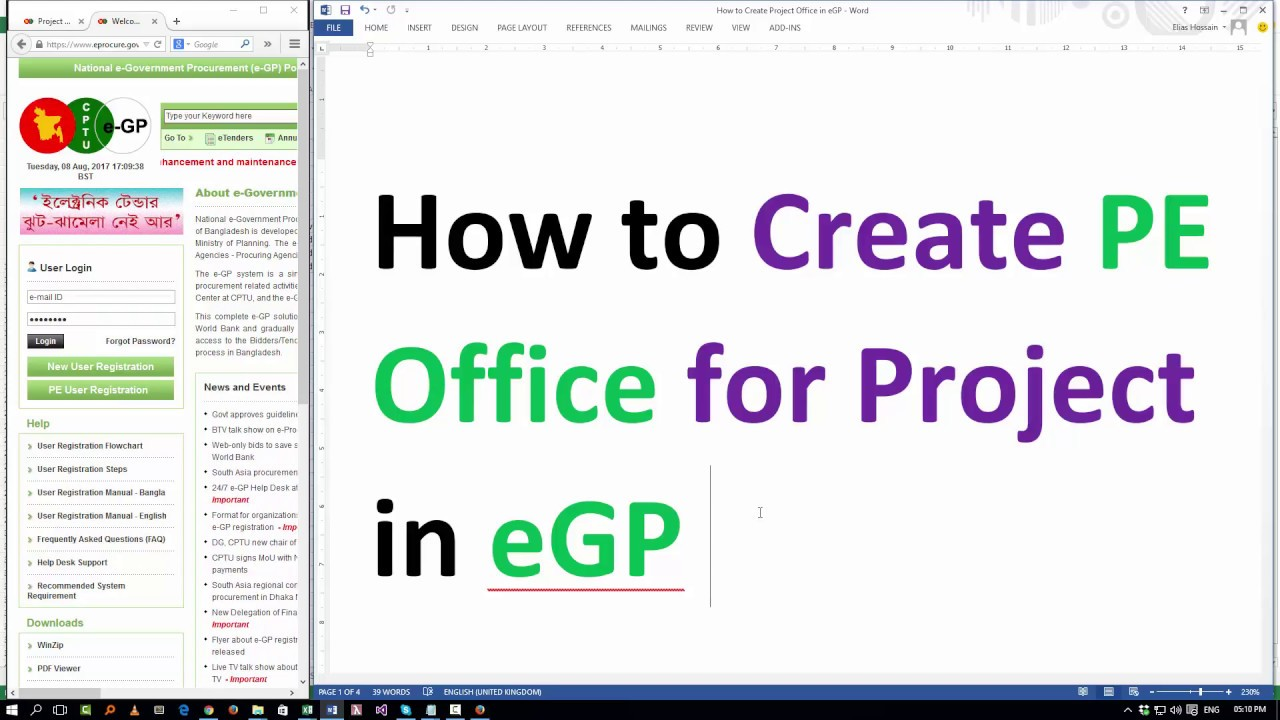 How To Create Pe Office For Project In Egp Organization Admin