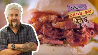Guy Fieri Eats a Pork Belly, Pulled pork and Capicola Sandwich | Diners, Drive-ins and Dives