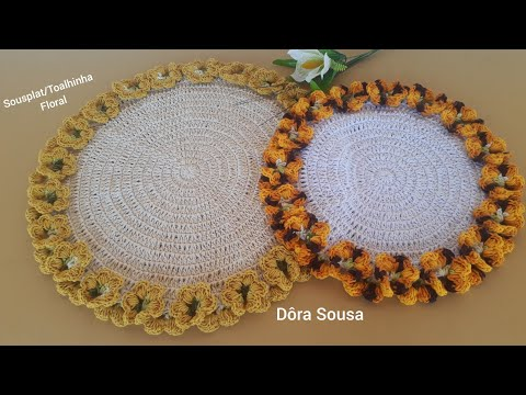 Sousplat/Toalhinha Floral em Crochê  com Dôra de sousa crochê.