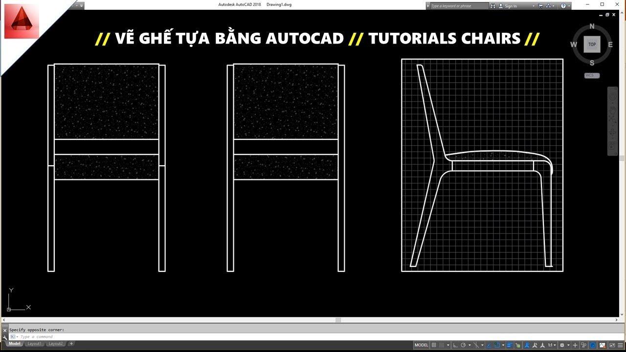 Bài tập vẽ ghế bằng AutoCAD ( tutorials chairs) // Học Autocad căn bản // Vietcg Edu