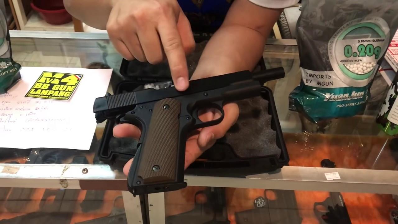 ปืนบีบีกันอัดแก็ส M1911 ค่ายG\u0026Dสีดำ พร้อมเช็ตชุดยิง แก็ส ลูกปืน0.20 สปีดโหลดเดอร์ พร้อมรีวิวความแรง