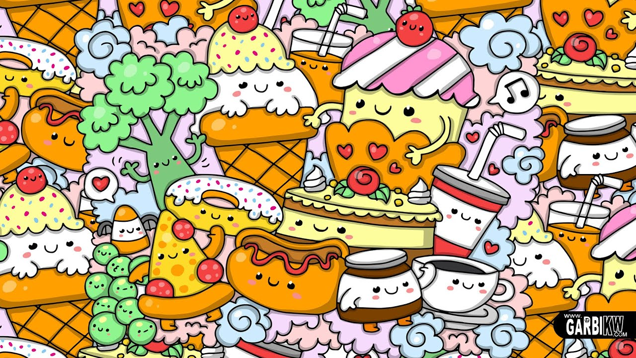 Kawaii food how to draw kawaii by garbi kw youtube - Doodle desktop wallpaper ...