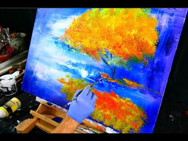 Creating Abstract Painting Of Magical Autumn Tree On Blue Abstract Background